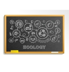 Ecology hand draw integrated icons set on school vector
