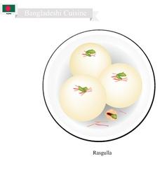 Rasgulla or Bangladeshi Milk Ball With Sweet Syrup vector image