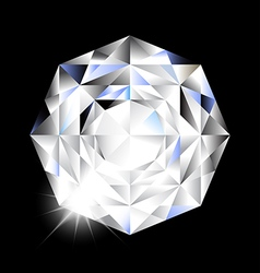 Diamond with light on black background vector