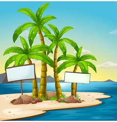 An island with signboards vector image vector image