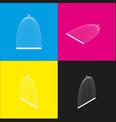Bird cage sign white icon with isometric vector