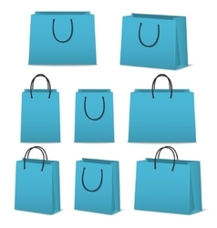 Blank paper shopping bags set isolated on white vector image vector image