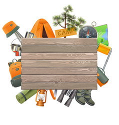 camping concept with wooden plank vector image vector image