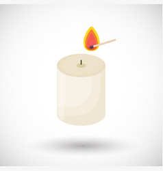 candle and matchstick flat icon vector image vector image