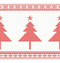 Christmas Knitted Seamless Background vector image