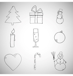 Collection of Christmas iconsobjects vector image vector image