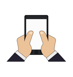 Color graphic hand touching a tablet screen icon vector