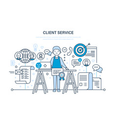 Customer service problem solving communication vector