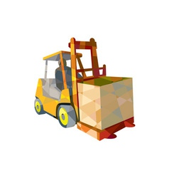 Forklift Truck Materials Handling Box Low Polygon vector image vector image