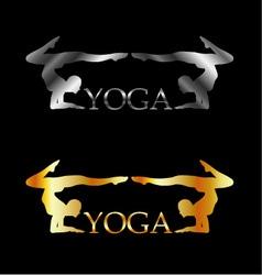 Golden and silver yoga or gymnastics logo vector image