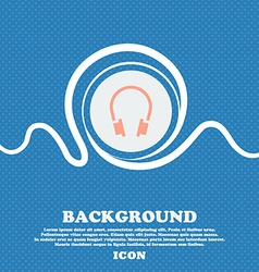 headsets sign icon Blue and white abstract vector image