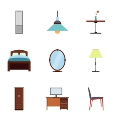 Home furniture icons set flat style vector image vector image