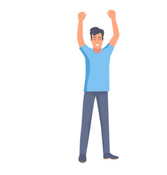 Man holds two hands up body clue sign of win vector