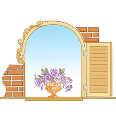 old window and flowers vector image