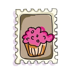Pink muffin postage stamp vector