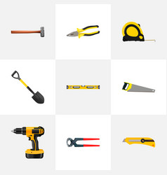 realistic plumb ruler pliers hacksaw and other vector image vector image