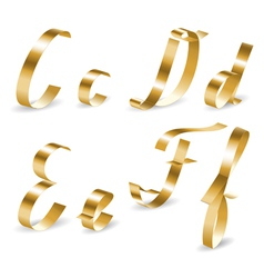 Ribbon alphabet cdef vector