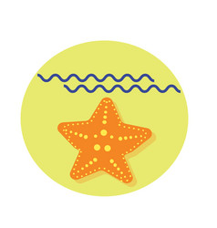 sea star flat icon with shadow and sea vector image vector image