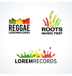 Set of reggae music equalizer logo emblem vector image vector image
