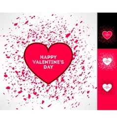 Set of valentines hearts on grunge vector image vector image