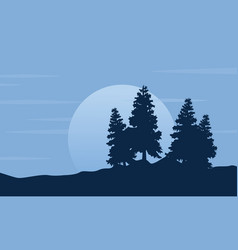 Silhouette of tree with moon scenery vector