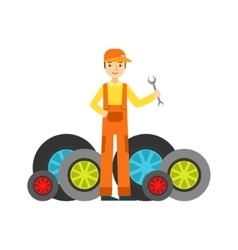 Smiling mechanic and many wheels in the garage vector
