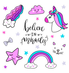 stickers set with unicorn rainbow star cloud vector image vector image