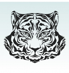 tiger head isolated black silhouette vector image vector image