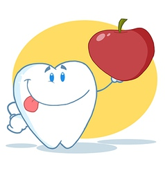 Tooth Character Holding A Red Apple vector image vector image