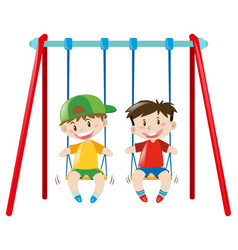 Two boys on the swings vector