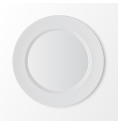 White flat round plate top view on background vector