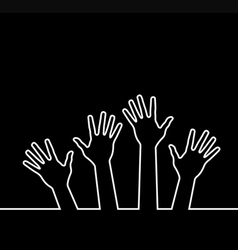 white line of hands vector image vector image