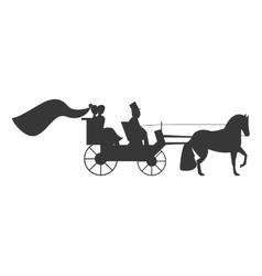 Bride and groom on carriage icon vector