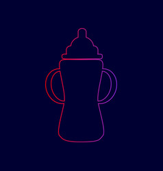 Baby bottle sign  line icon with gradient vector