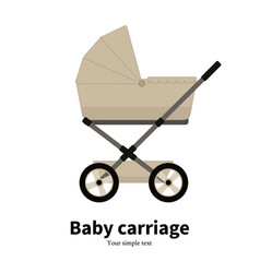 Cartoon beige baby carriage pram vector