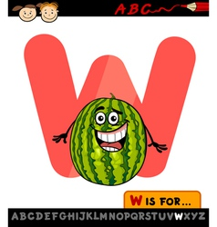 Letter w with watermelon cartoon vector
