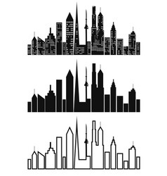 black cityscape icons set vector image