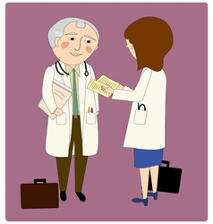 Doctors consulting vector