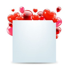 Happy Valentines Day Card With Red Hearts vector image