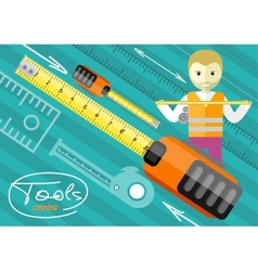Happy male worker showing folding ruler vector