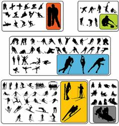 simple winter sport silhouettes vector image