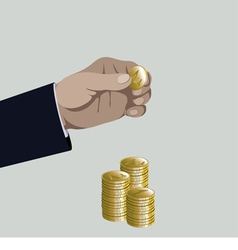Hand put gold coin to money stack vector