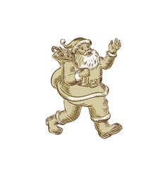 Santa claus walking waving etching vector