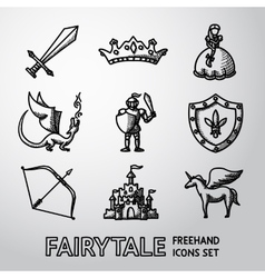 Set of hand drawn fairytale game icons vector