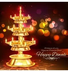 Golden diya stand on abstract diwali background vector