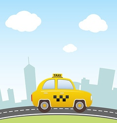 Taxi on city background vector