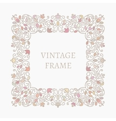 Elegant retro varicolored floral square frame vector