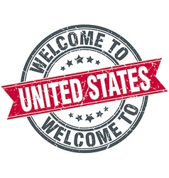 Welcome to united states red round vintage stamp vector