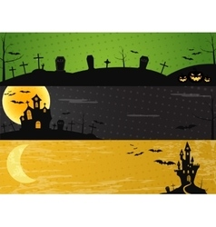 Three halloween landscape banners green dark and vector