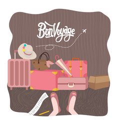 bon voyage luggage bag traveling vector image vector image